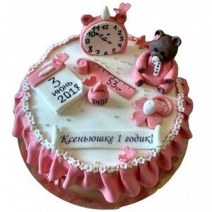 Торт Первые мерки с Мишкой для девочки №2