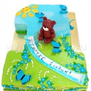 Торт Один годик с Мишкой на поляне