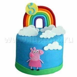 Торт Свинка Пеппа с радугой