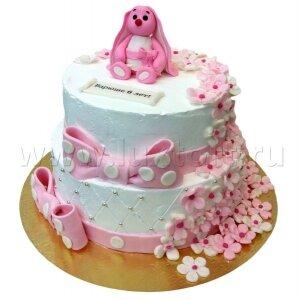 Торт с Зайкой и цветами
