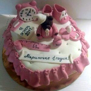 Торт Первые мерки с Мишкой для девочки