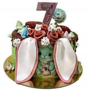 Торт Зайка с цветами
