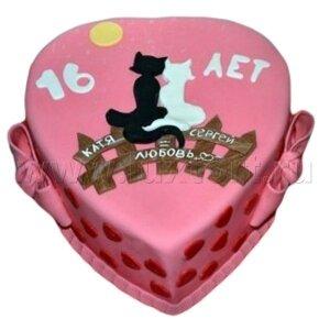 Торт Сердце с Котятами
