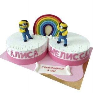 Торт Два Миньона с радугой