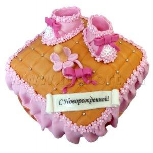 Торт Подушка с пинетками для девочки