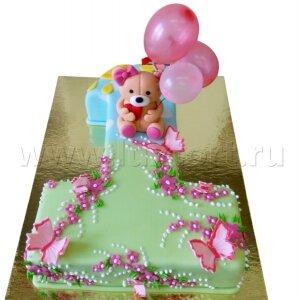 Торт Единичка с Мишкой и шариками