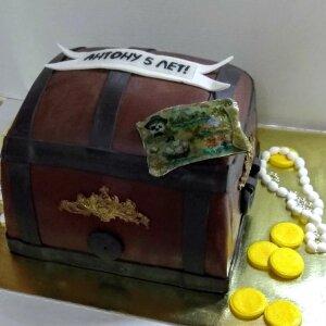 Торт пиратский сундук с сокровищами
