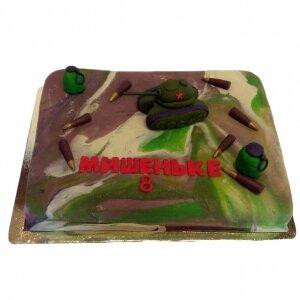 Торт Камуфляж с танком и пулями