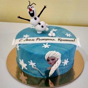 Торт Снеговик Олаф и Эльза