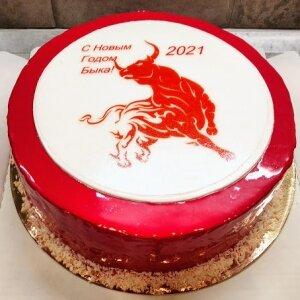 Зеркальный торт Бык символ 2021