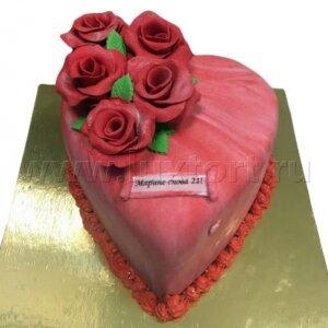 Торт Сердце с розами №2