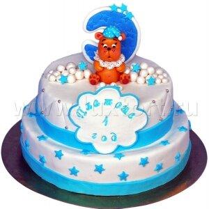 Торт Мишка с луной и звездами
